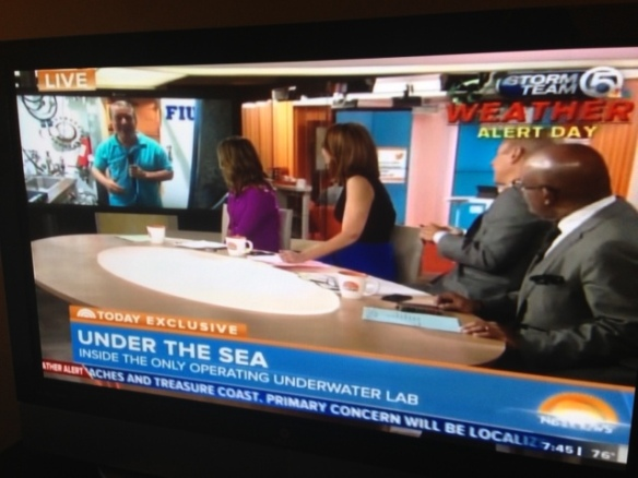 NBC correspondent Kerry Sanders in a live shot from  FIU's Aquarius lab this morning.